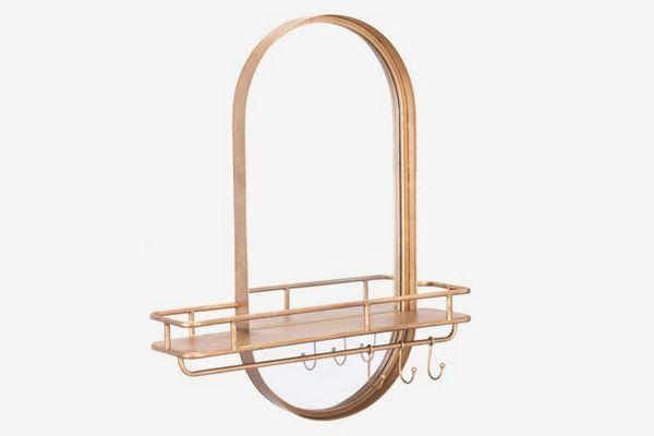 ZM Home Modern Luxe Shelf Mirror & Hooks