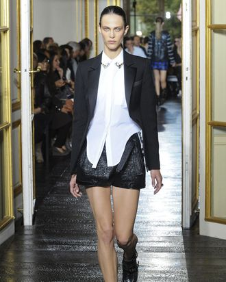 Aymeline Valade walks the spring 2011 Balenciaga show.