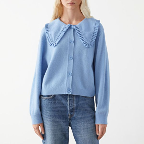& Other Stories Statement Collar Wool Knit Cardigan