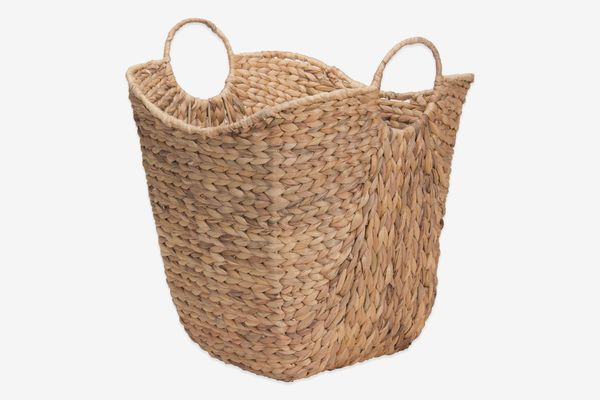 Household Essentials Water Hyacinth Wicker Basket With Handles