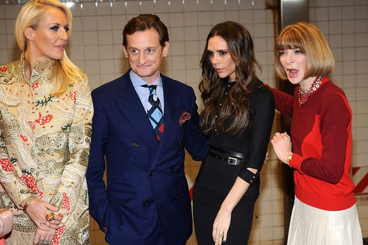 (2nd L-R) Hamish Bowles, Victoria Beckham and Anna Wintour attends the launch of Britain's GREAT campaign at Grand Central Shuttle Station on February 15, 2012 in New York City.