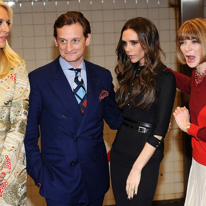 Keren Craig, Hamish Bowles, Victoria Beckham, and Anna Wintour.