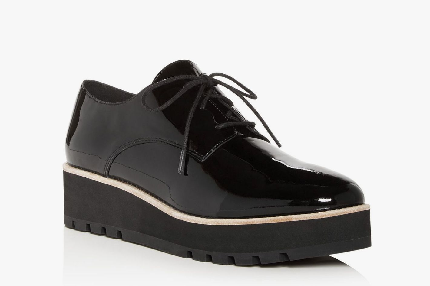 Eileen Fisher Women's Eddy Patent-Leather Plain-Toe Platform Loafers