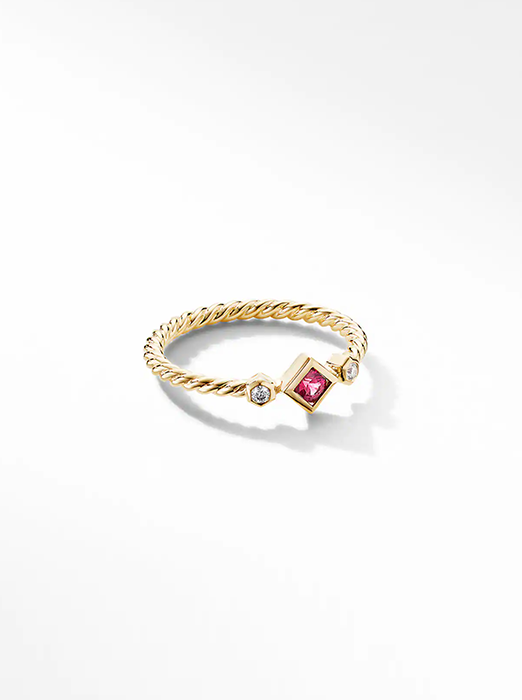 Petite Princess Cut Ring in 18K Yellow Gold with Ruby and Diamonds