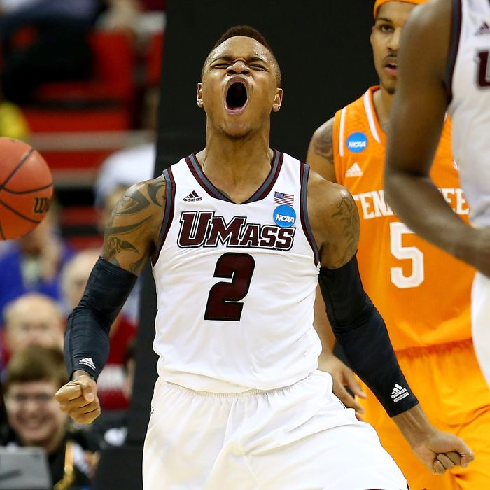 Derrick Gordon #2 of the Massachusetts Minutemen reacts while taking on the Tennessee Volunteers in the second round of the 2014 NCAA Men's Basketball Tournament at PNC Arena on March 21, 2014 in Raleigh, North Carolina.