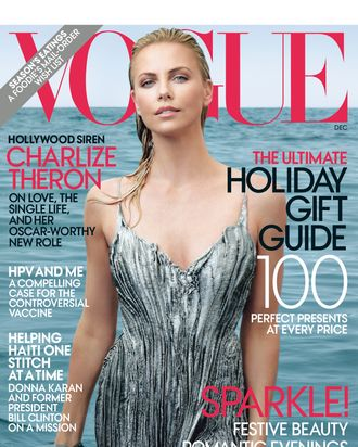 Charlize, looking a bit blue.