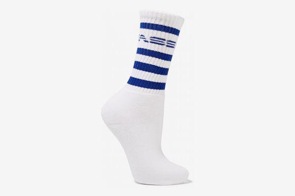 Adam Selman Printed Ribbed Cotton-Blend Socks