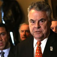 WASHINGTON, DC - JANUARY 02:  U.S. Rep. Peter King (R-NY) (R) and Rep. Michael Grimm January 2, 2013 on Capitol Hill in Washington, DC. The House Republican leadership was criticized for not acting on the Senate passed legislation for Hurricane Sandy disaster aid.  (Photo by Alex Wong/Getty Images)