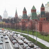 Traffic jam near the gates of Kremlin on October 31, 2013 in Moscow, Russia.