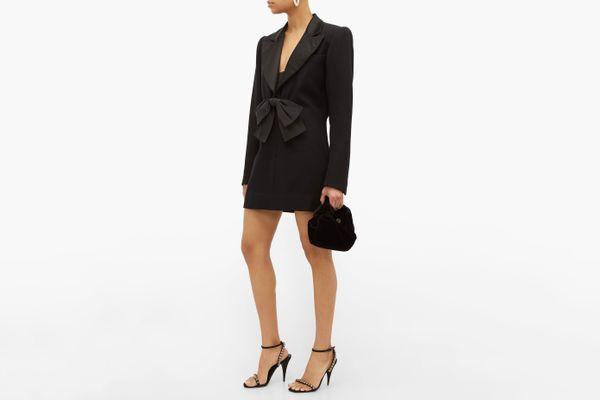 William Vintage YSL 1994 Bow Satin-Trimmed Blazer Mini Dress