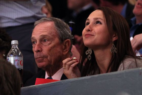 NEW YORK, NY - APRIL 20:  New York City Mayor Michael Bloomberg and his daughter Georgina (R) watch the New York Rangers play against the Washington Capitals in Game Four of the Eastern Conference Quarterfinals during the 2011 NHL Stanley Cup Playoffs at Madison Square Garden on April 20, 2011 in New York City.  (Photo by Bruce Bennett/Getty Images) *** Local Caption *** Georgina Bloomberg;Michael Bloomberg;