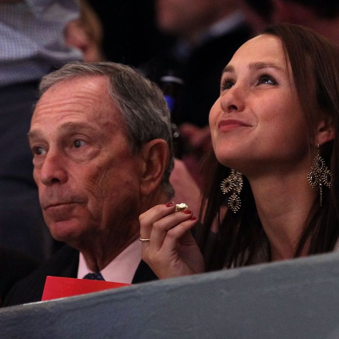 New York City Mayor Michael Bloomberg and his daughter Georgina (R) watch the New York Rangers play against the Washington Capitals in Game Four of the Eastern Conference Quarterfinals during the 2011 NHL Stanley Cup Playoffs at Madison Square Garden on April 20, 2011 in New York City.