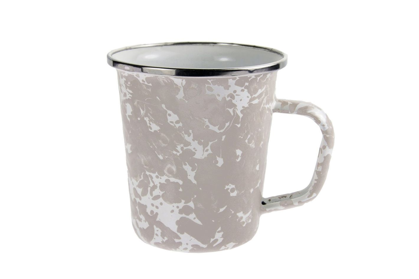 Enamelware — Taupe Swirl Pattern, 16-Ounce Latte Mug