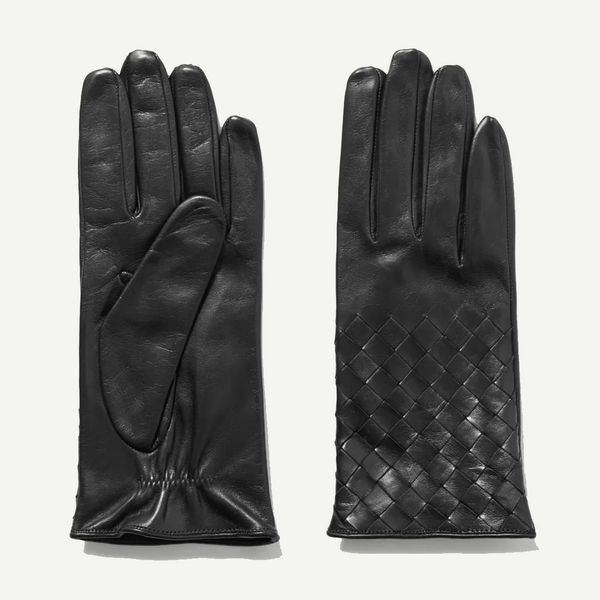 Portolano Black Woven Leather Gloves