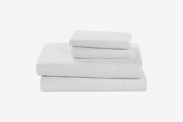 Rivet Soft 100% Percale Cotton Sheet Set, Easy Care, Queen, White
