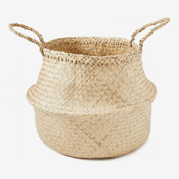 Americanflat Hand Woven Palm and Seagrass Belly Basket