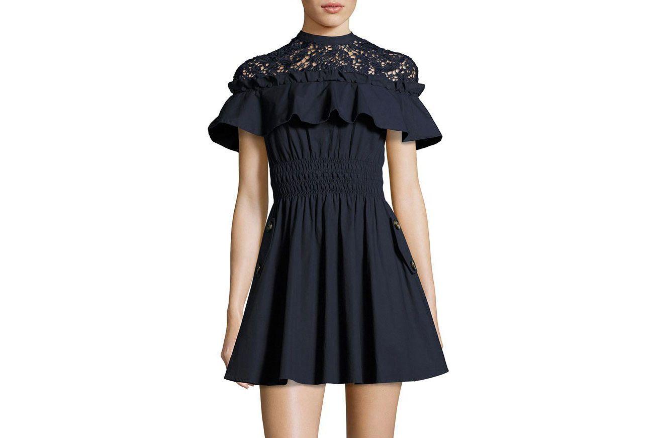 Self-Portrait Hudson Lace-Yoke Ruffle Mini Dress, Navy
