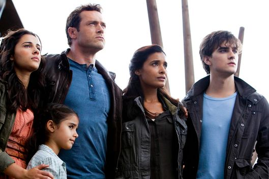 "TERRA NOVA:  The Shannon Family (L-R:  Naomi Scott, Alana Mansour,  Jason O'Mara, Shelley Conn and Landon Liboiron) listen as Taylor addresses the colony in the ""Within"" episode of TERRA NOVA airing Monday, Dec. 12 (8:00-9:00 PM ET/PT) on FOX.  ©2011 Fox Broadcasting Co.  Cr:  Vince Valitutti/FOX"