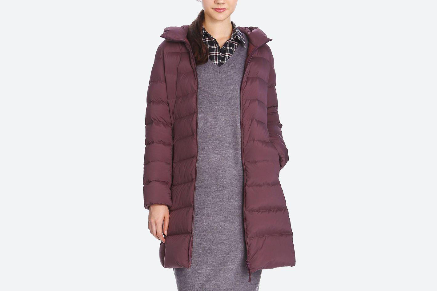 Women Ultra Light Down Stretch Hooded Coat