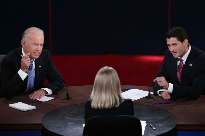 U.S. Vice President Joe Biden (L) and Republican vice presidential candidate U.S. Rep. Paul Ryan (R-WI) (R) participate in the vice presidential debate as moderator Martha Raddatz looks on at Centre College October 11, 2012 in Danville, Kentucky.