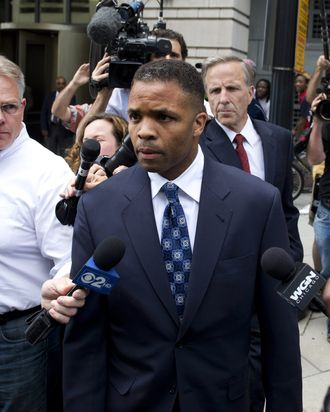 Former Illinois Congressman Jesse Jackson Jr., leaves the US District Court in Washington, DC, August 14, 2013, following a sentencing hearing. Jackson was sentenced today to 30 months behind bars and his wife, Sandi, got a year in prison for separate felonies involving the misspending of about $750,000 in campaign funds. The Jacksons will be allowed to serve their sentences one at a time, with Jackson Jr. going first. In addition to the 2.5 years in prison, Jackson Jr. was sentenced to three years of supervised release. Sandi Jackson was ordered to serve 12 months of supervised release following her prison term.