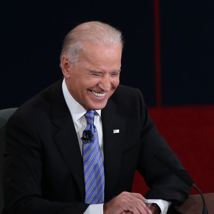 DANVILLE, KY - OCTOBER 11: U.S. Vice President Joe Biden smiles during the vice presidential debate at Centre College October 11, 2012 in Danville, Kentucky. This is the second of four debates during the presidential election season and the only debate between the vice presidential candidates before the closely-contested election November 6. (Photo by Win McNamee/Getty Images)