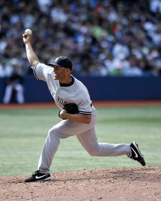 TORONTO, CANADA - SEPTEMBER 17: Mariano Rivera #42 of the New York Yankees delivers a pitch during MLB game action against the Toronto Blue Jays September 17, 2011 at Rogers Centre in Toronto, Ontario, Canada. (Photo by Brad White/Getty Images)
