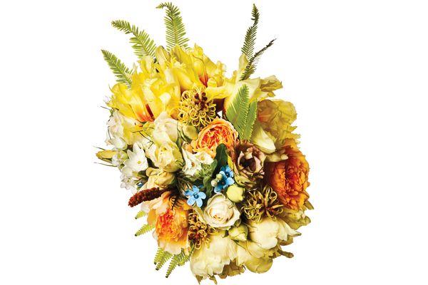 Peony, garden rose, ranunculus, blue tweedia, umbrella fern, grevillea, paperwhite, and Japanese lisianthus