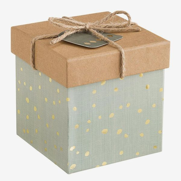 The Container Store Grey & Gold Dot Metallic Square Trinket Box