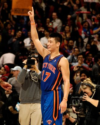 Jeremy Lin #17 of the New York Knicks reacts to the crowd after the win over the Toronto Raptors on February 14, 2012 at the Air Canada Centre in Toronto, Ontario, Canada.