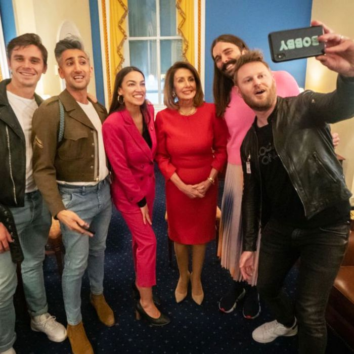 The cast of Queer Eye, Nancy Pelosi, and Alexandria Ocasio-Cortez.