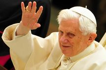 Pope Benedict XVI waves as he arrives for his weekly general audience on February 8, 2012 at Paul VI hall at the Vatican.