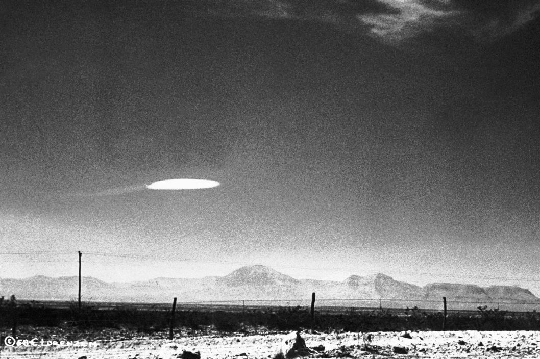 16 Oct 1957, Alamogordo, New Mexico, USA --- A UFO variety was photographed when it hovered for fifteen minutes near Holloman Air Development Center in New Mexico. The object was photographed by a government employee and was released by the Aerial Phenomena Research Organization after careful study. There is no conventional explanation for the object. --- Image by ? Bettmann/CORBIS