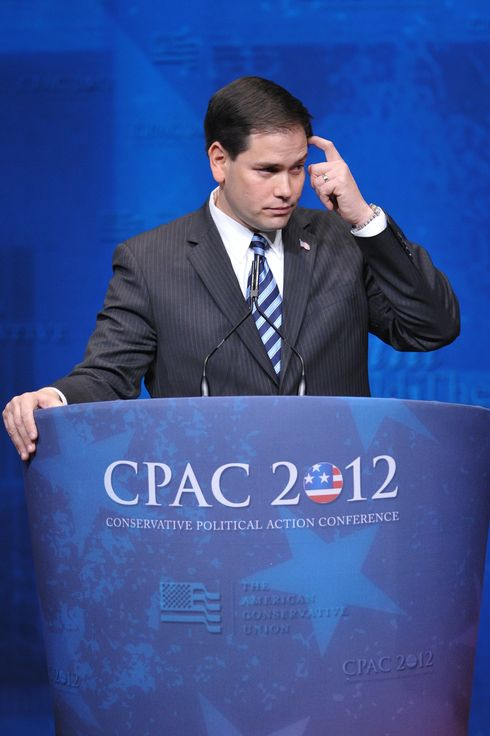 Senator Marco Rubio, R-FL, pauses during his speech to the 39th Conservative Political Action Committee(CPAC) February 9, 2012 in Washington, DC.