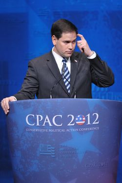 Senator Marco Rubio, R-FL, pauses during his speech to the 39th Conservative Political Action Committee(CPAC) February 9, 2012 in Washington, DC. AFP PHOTO/Mandel NGAN (Photo credit should read MANDEL NGAN/AFP/Getty Images)