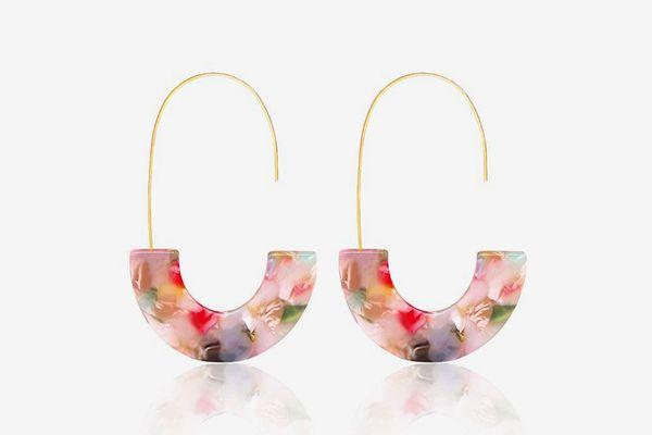 MOLOCH Acrylic Statement Tortoise Hoop Resin Wire Drop Dangle Earrings