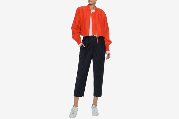 T by Alexander Wang Silk and cotton-blend bomber jacket