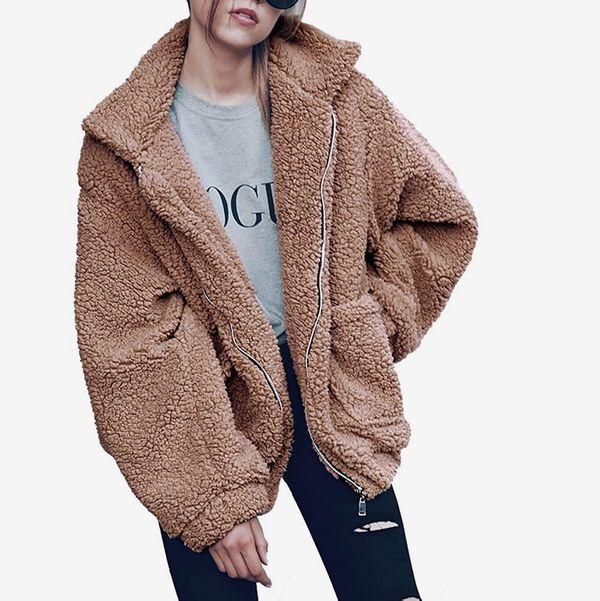 PRETTYGARDEN Zip-up Faux Shearling Shaggy Coat