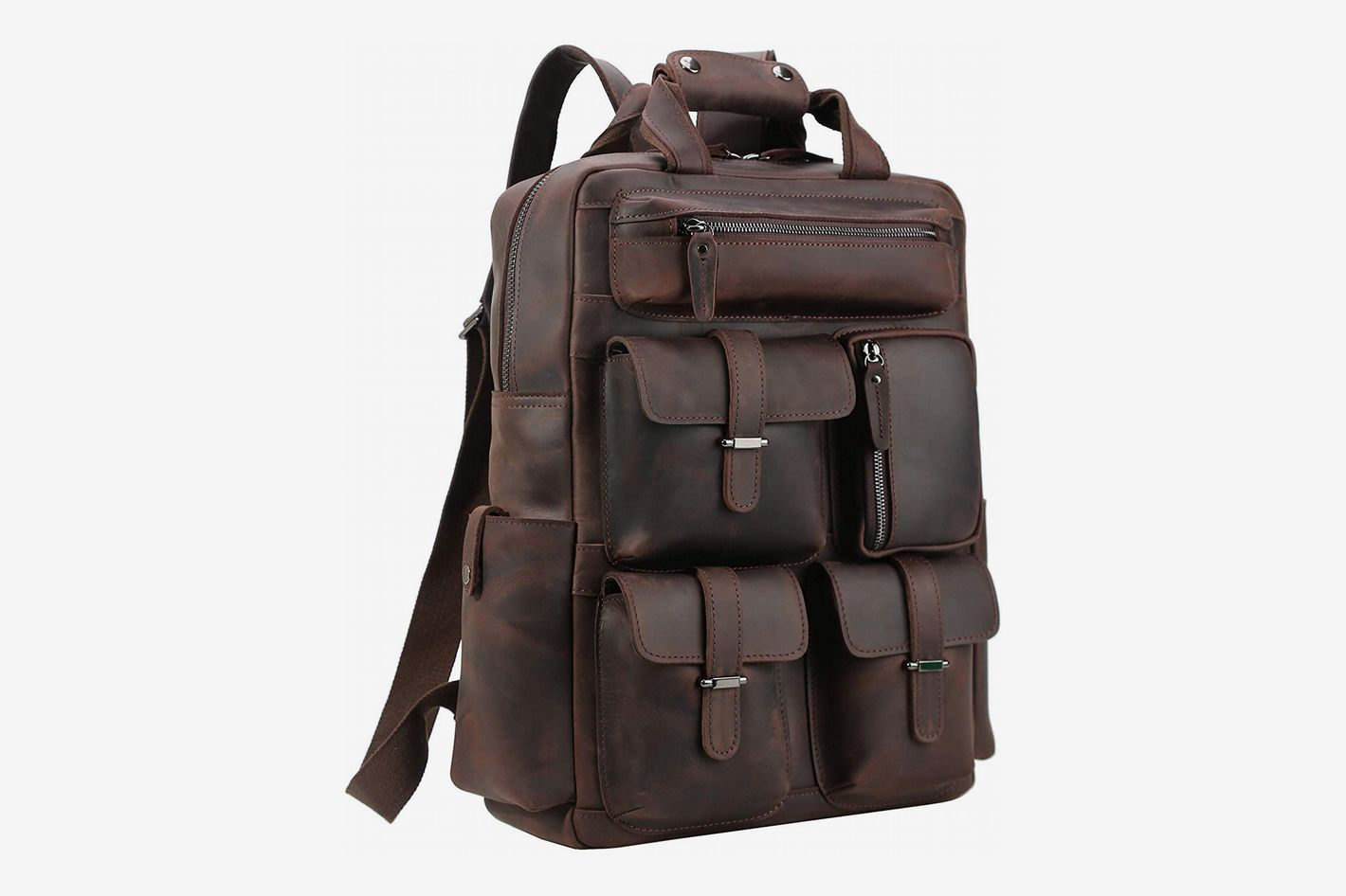 "3a03debfb Polare Handcrafted Leather Laptop Backpack (Fits 16-17"" Laptop)"