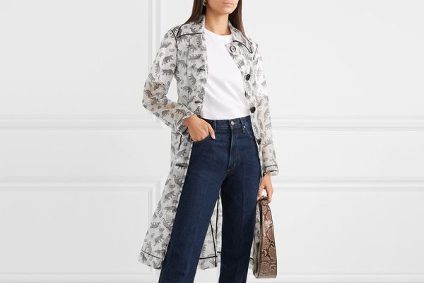 HVN Jen Piped Printed Matte-PU Trench Coat