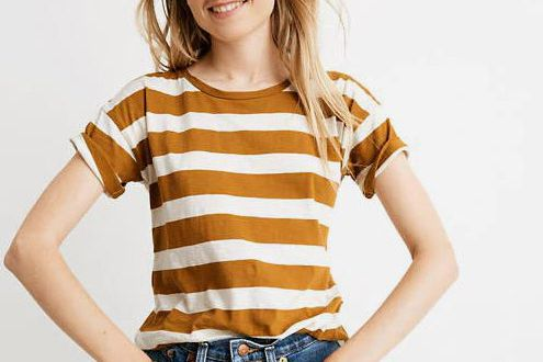 Madewell Whisper Cotton Crewneck Tee in Rugby Stripe