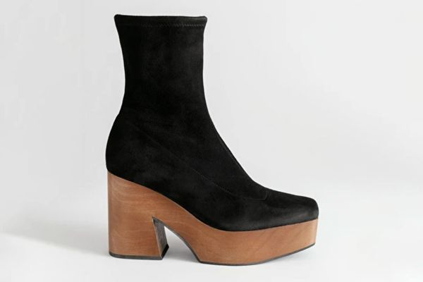 & Other Stories Suede Wooden Platform Boots