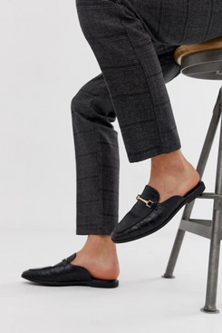 ASOS DESIGN backless mule loafer in black faux leather with croc effect