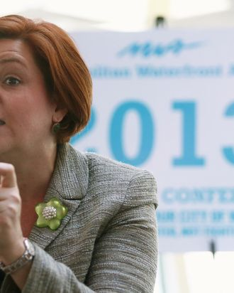 New York City Council Speaker and mayoral candidate Christine Quinn speaks at a political forum aboard a boat in Manhattan on April 9, 2013 in New York City. Six mayoral candidates spoke at the Metropolitan Waterfront Alliance's 2013 Waterfront Conference ahead of the November 2013 mayoral election.