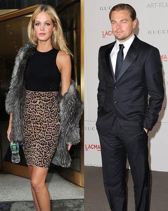 Erin Heatherton and Leonardo DiCaprio.