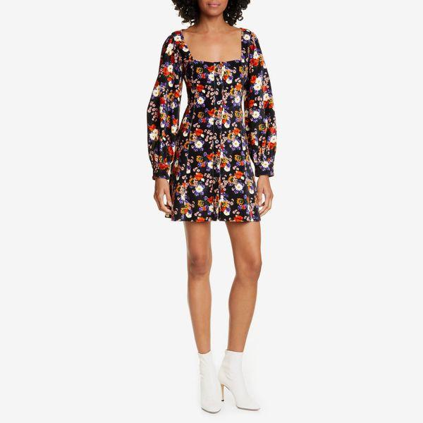 staud chandler floral velevet long sleeve minidress - strategist nordstrom half yearly sale best deals