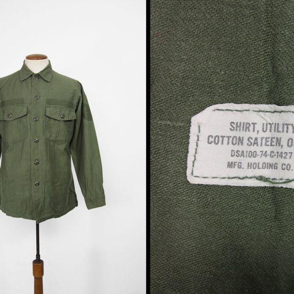 1970s Vintage US Army Utility Shirt OG 107