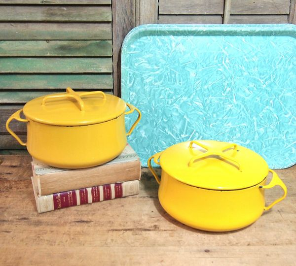Lot of 2 Vintage Kobenstyle Dansk Mid-Century Modern Yellow Enamel Dutch Oven