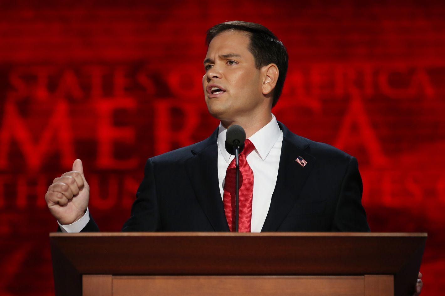 TAMPA, FL - AUGUST 30:  U.S. Senator Marco Rubio (FL) speaks during the final day of the Republican National Convention at the Tampa Bay Times Forum on August 30, 2012 in Tampa, Florida. Former Massachusetts Gov. Mitt Romney was nominated as the Republican presidential candidate during the RNC which will conclude today.  (Photo by Chip Somodevilla/Getty Images)