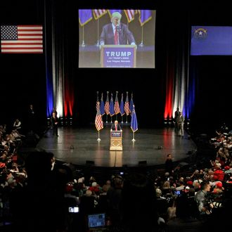 Republican presidential candidate Donald Trump speaks during a rally at the Treasure Island Hotel in Las Vegas on June 18, 2016.